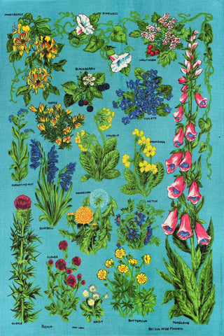 British Wildflowers tea towel