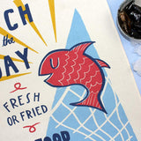 Catch of the Day tea towel