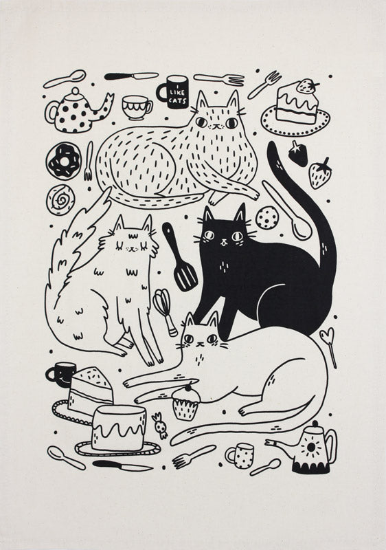 Cats and Cakes tea towel