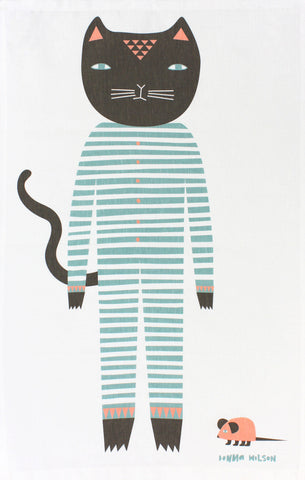 Cat's Pyjamas tea towel