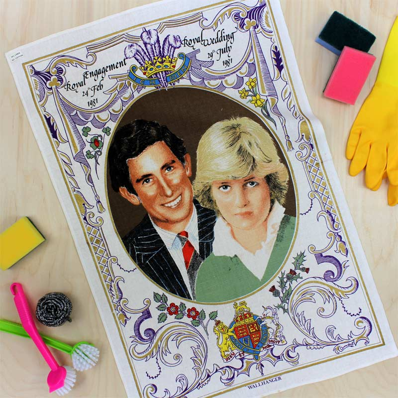 Charles and Diana vintage wedding tea towel