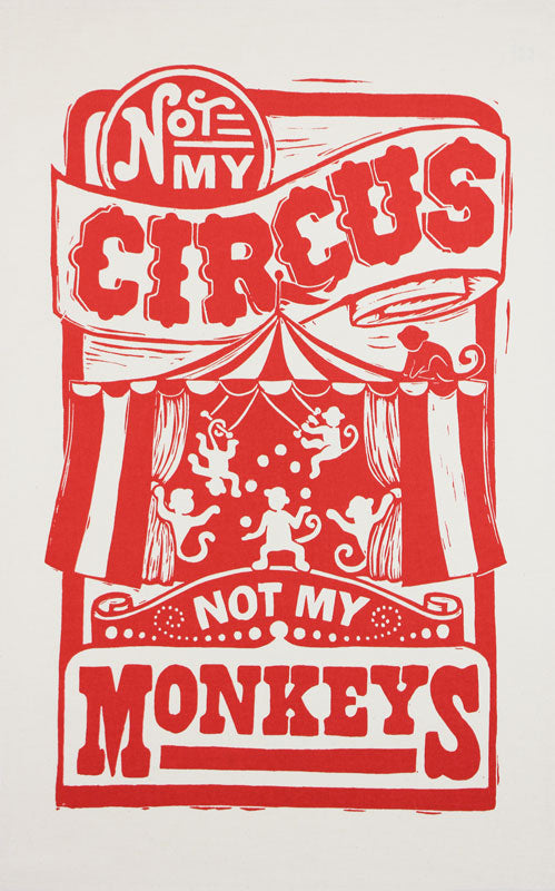 Circus Monkeys tea towel