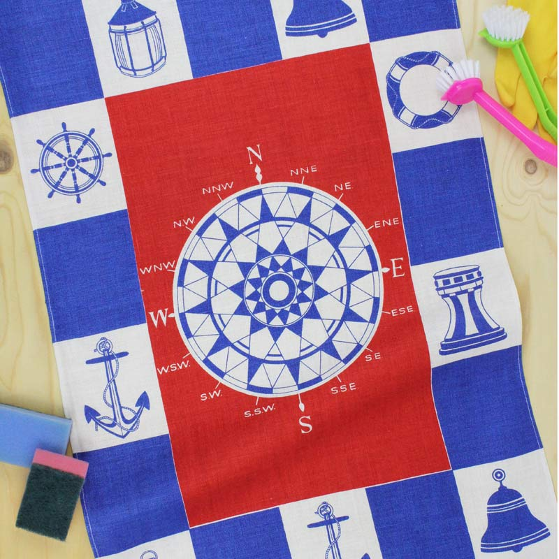 Compass tea towel