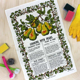 Cooking with Pears vintage tea towel