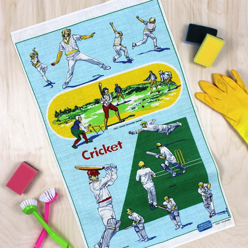 Cricket vintage tea towel