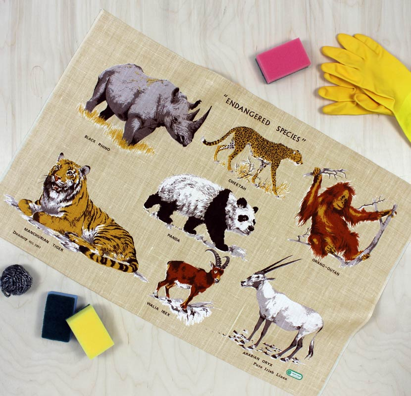 Endangered Animals vintage tea towel