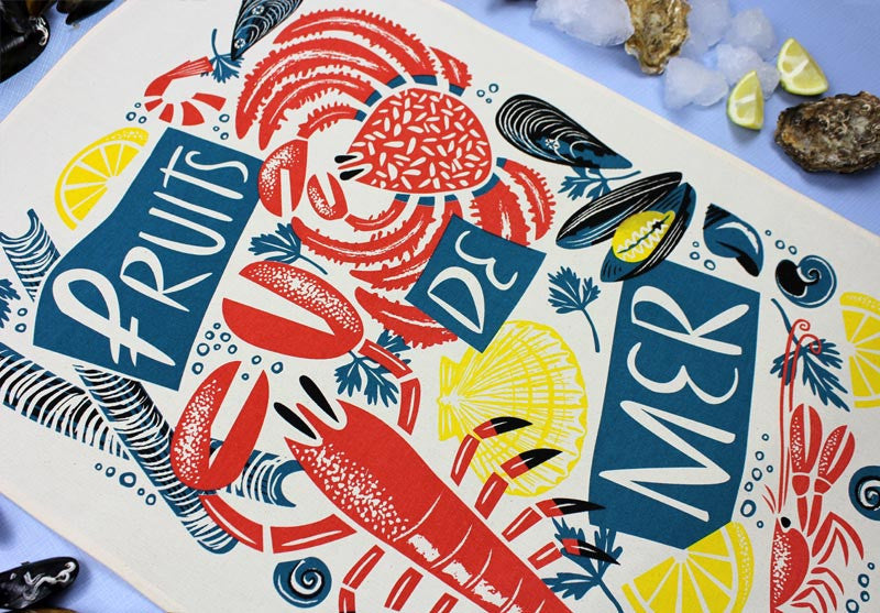 Fruits de Mer tea towel