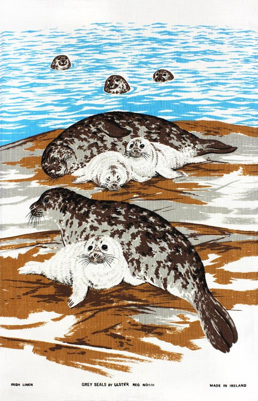 Grey Seals tea towel