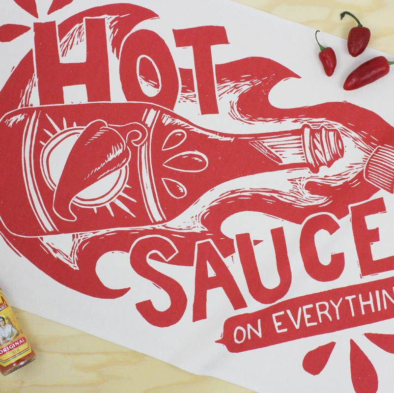 Hot Sauce tea towel