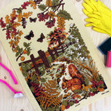 Autumn Squirrel tea towel