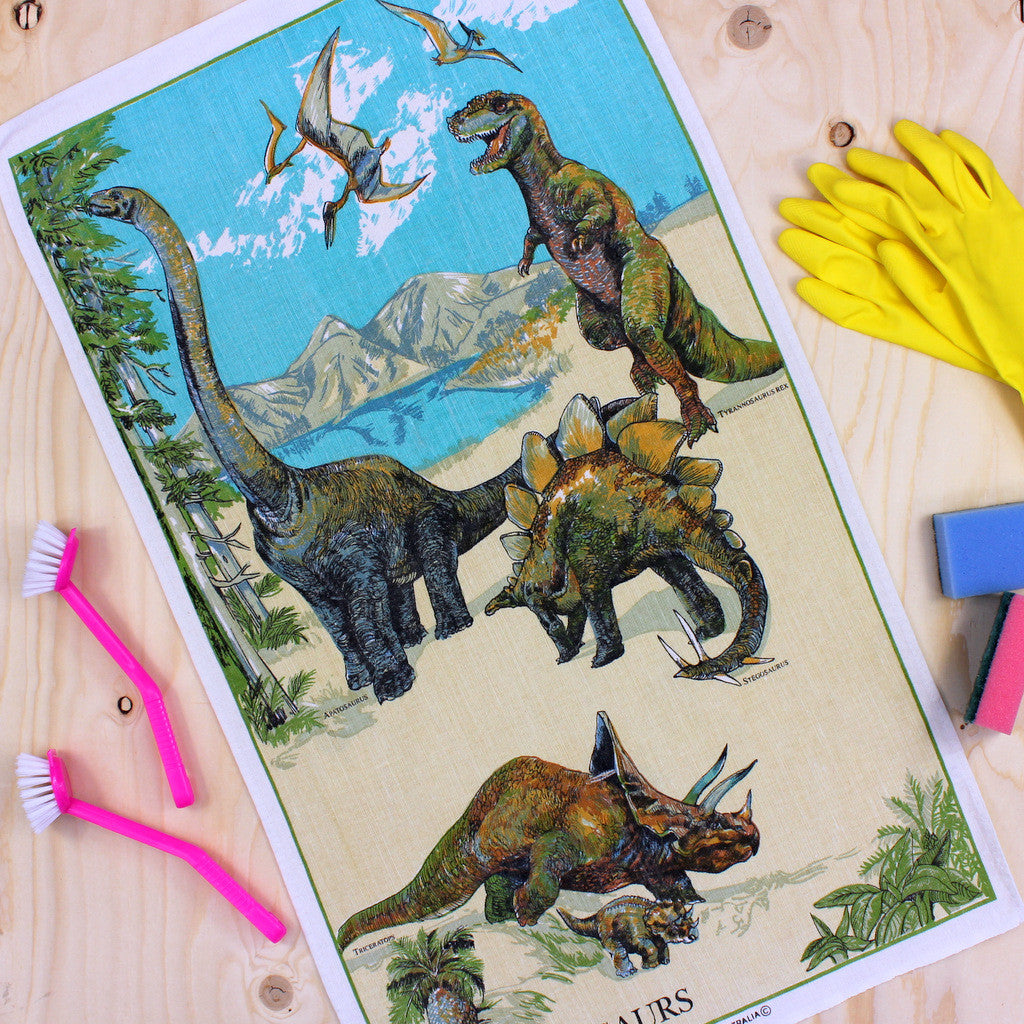 Dinosaurs tea towel
