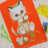 Kitten Knitting tea towel