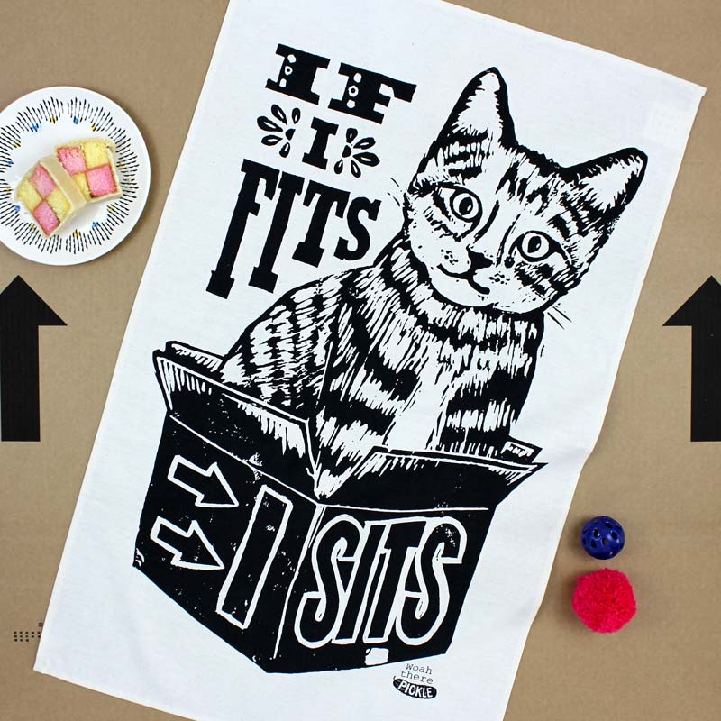 If I Fits I Sits Cat tea towel