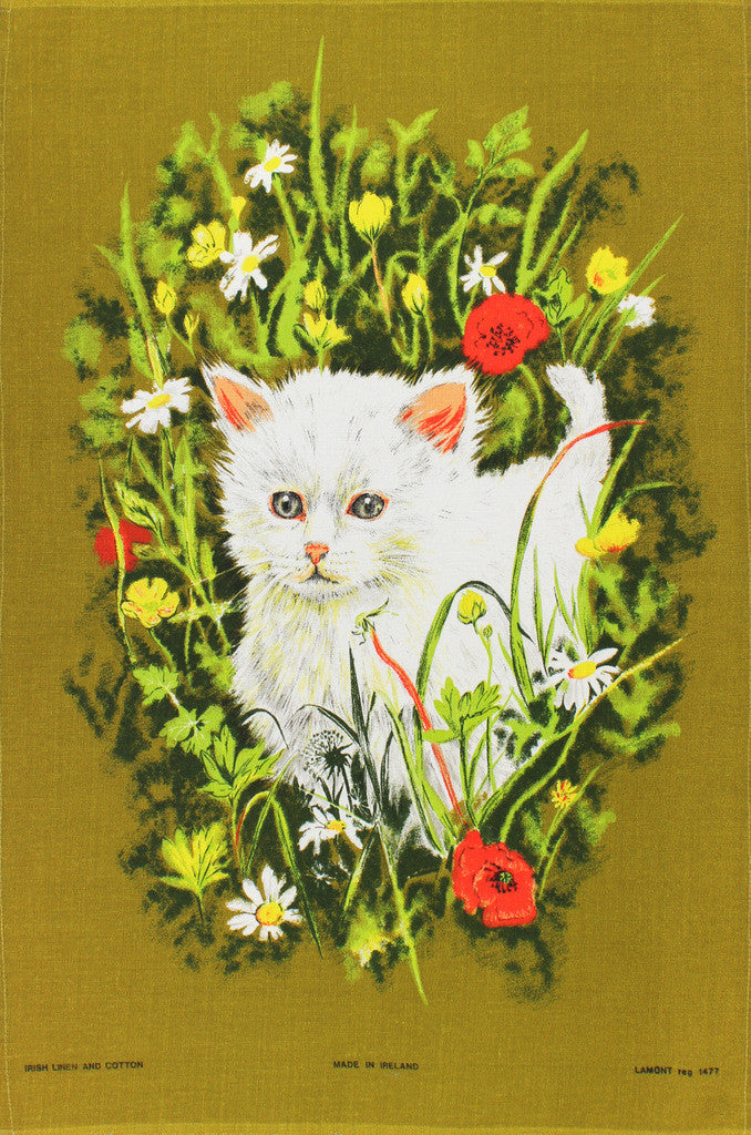 Kitten and Spring Flowers tea towel