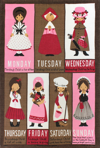 Monday's Child tea towel