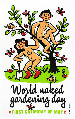 Naked Gardening tea towel