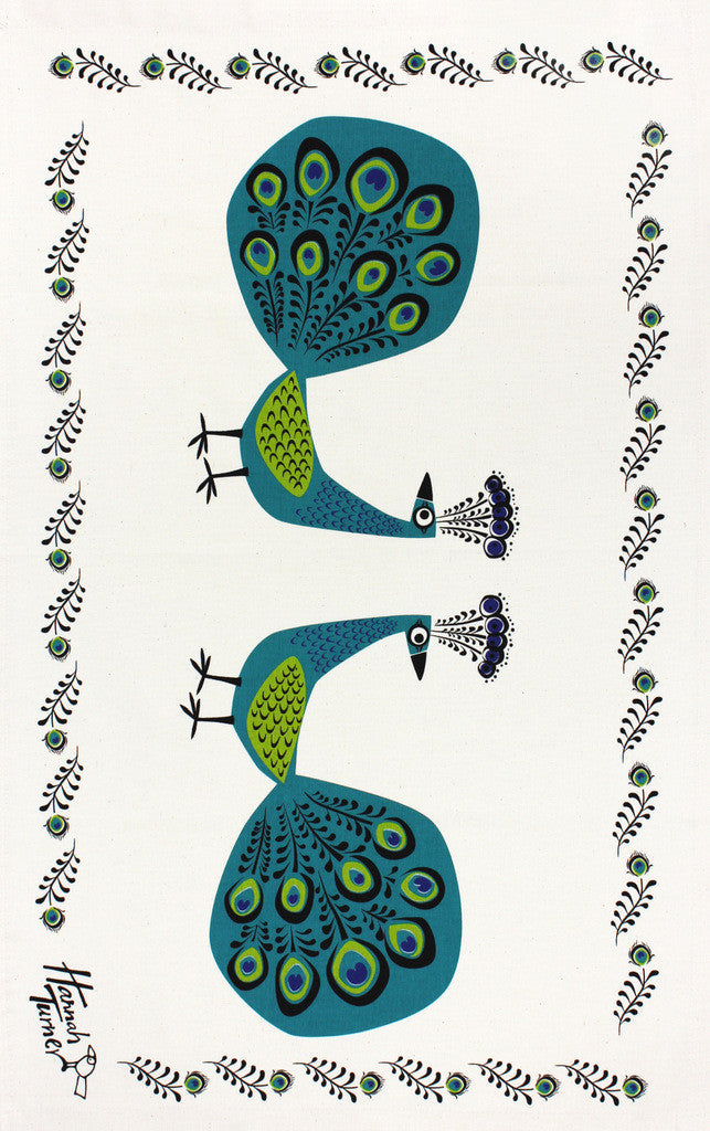 Peacocks tea towel