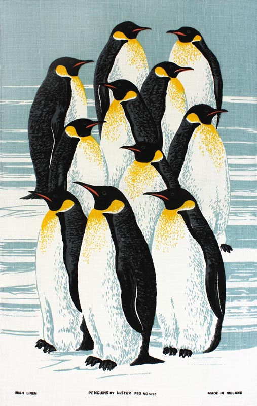 King Penguins vintage tea towel