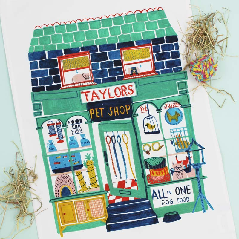 Pet Shop tea towel