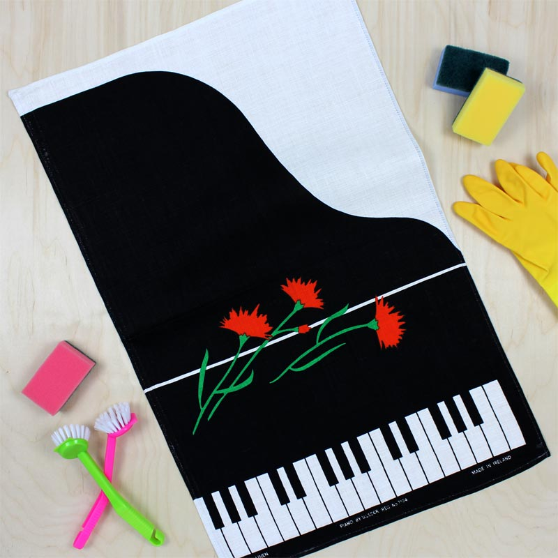 Piano and flowers vintage tea towel