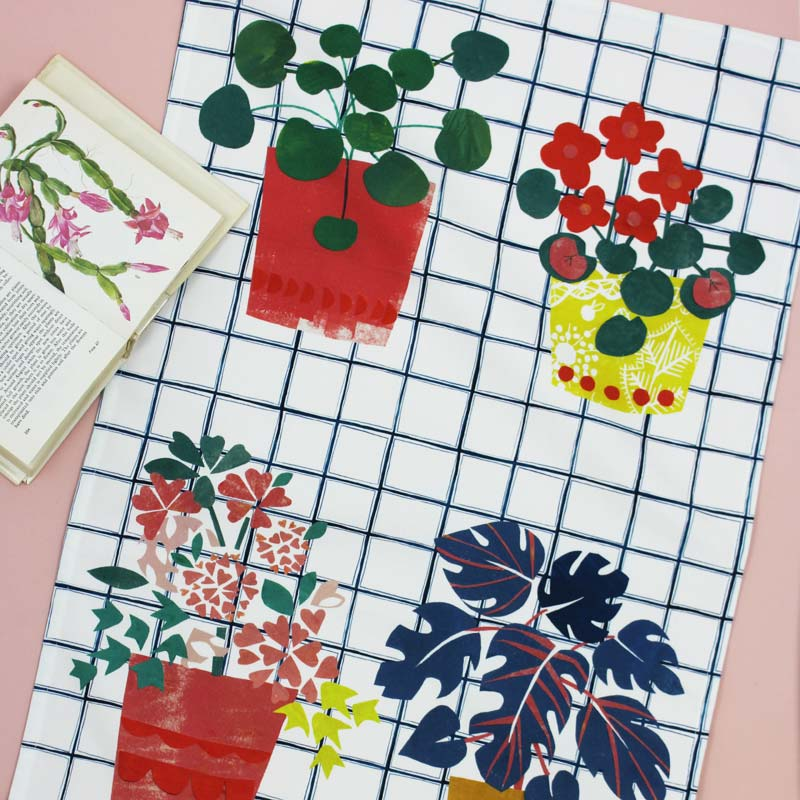 Plant Pots tea towel