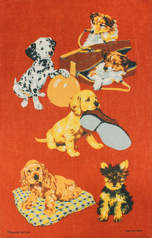 Puppies at Play tea towel