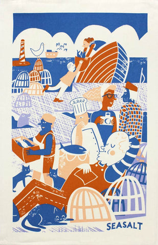 Quayside Fishing tea towel
