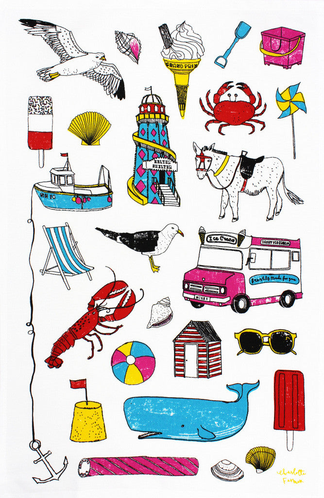 Seaside Fun tea towel