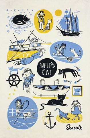 Ship's Cat and First Mate tea towel