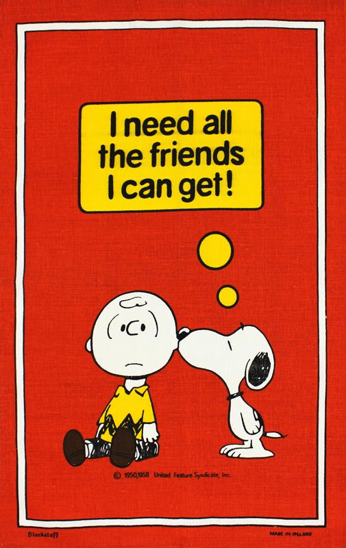 Snoopy I Need All The Friends tea towel