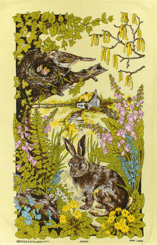 Spring Rabbit tea towel