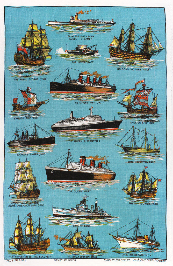 Story of Ships tea towel