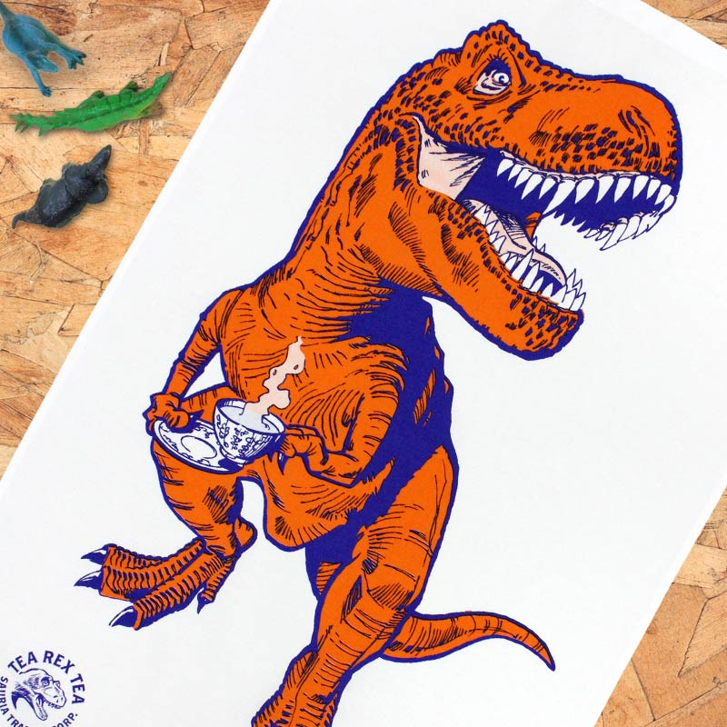 Tea Rex tea towel (orange) by Jay Jay Burridge