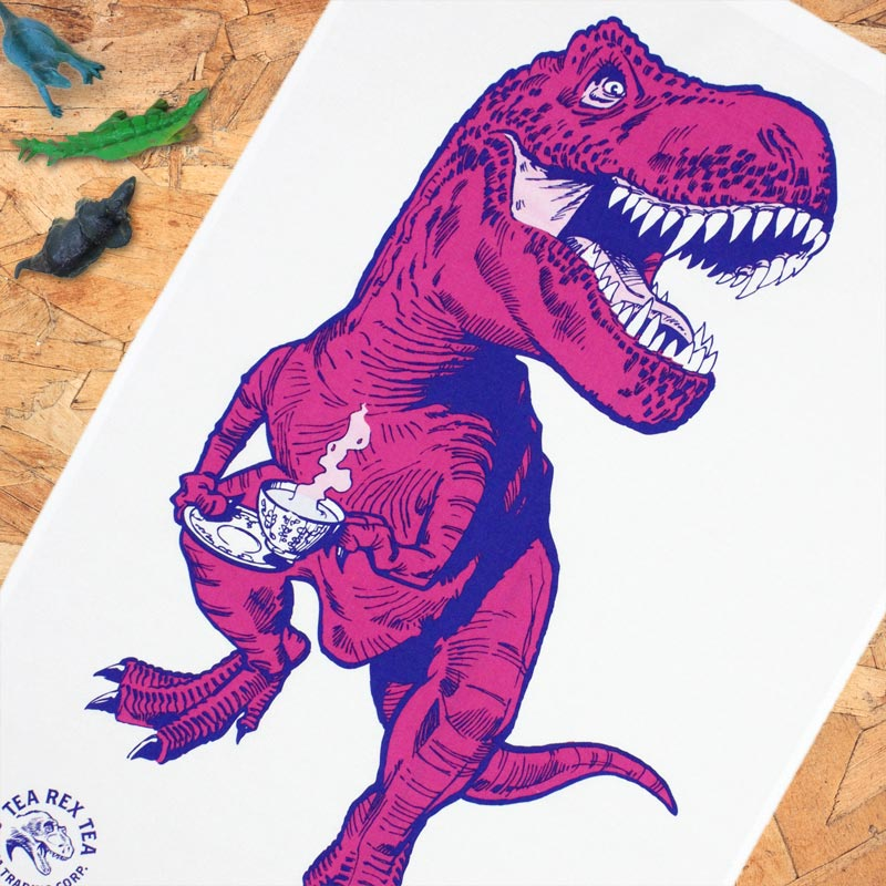 Tea Rex tea towel (pink) by Jay Jay Burridge