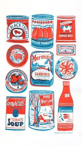 Tins tea towel