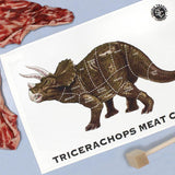 Triceratops Meat Chart tea towel by Jay Jay Burridge