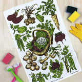 Vegetable Basket vintage tea towel