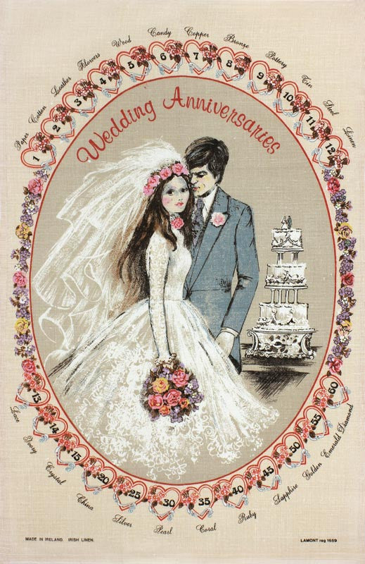 Wedding Anniversaries tea towel