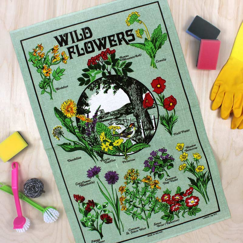 Wild Flowers vintage tea towel