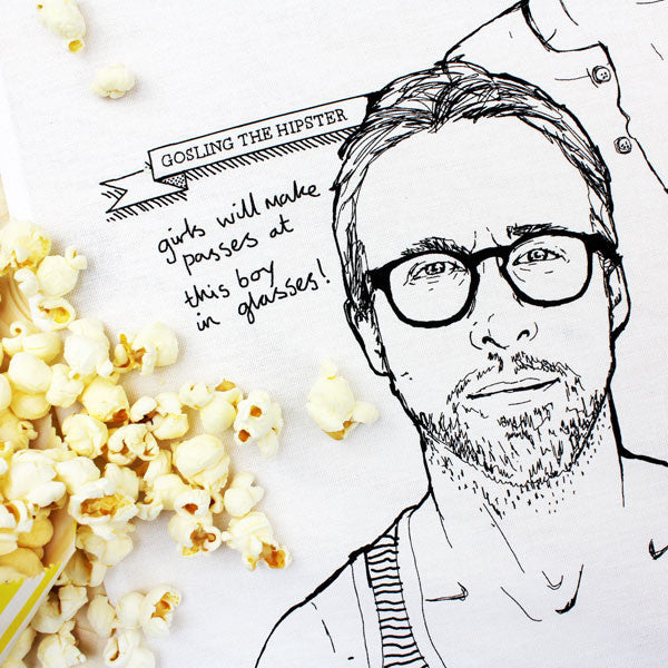 Hey Girl (Ryan Gosling) tea towel by Dear Colleen