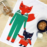 Fox Friends tea towel