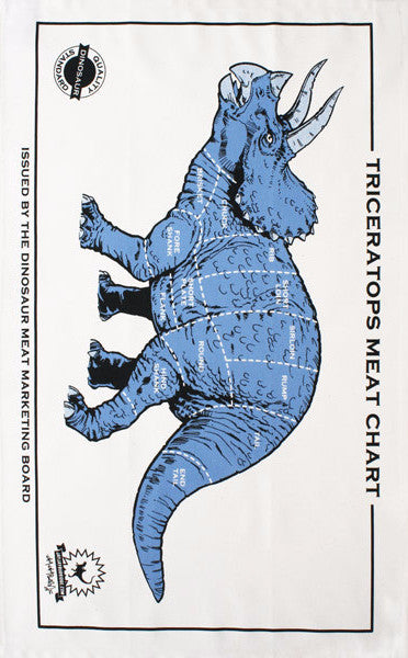 Dino Meat Chart (blue) tea towel