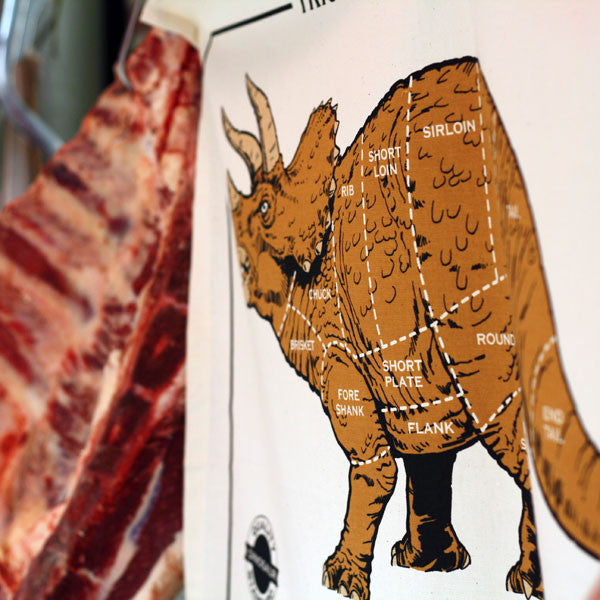 Dino Meat Chart (brown) tea towel