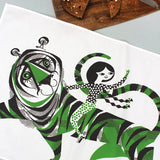 Tiger Tiger tea towel by Lesley Barnes