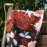 Fox and Cubs tea towel