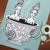Tea Cup Ladies tea towel