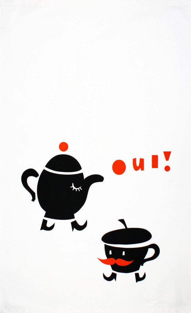 Oui! tea towel