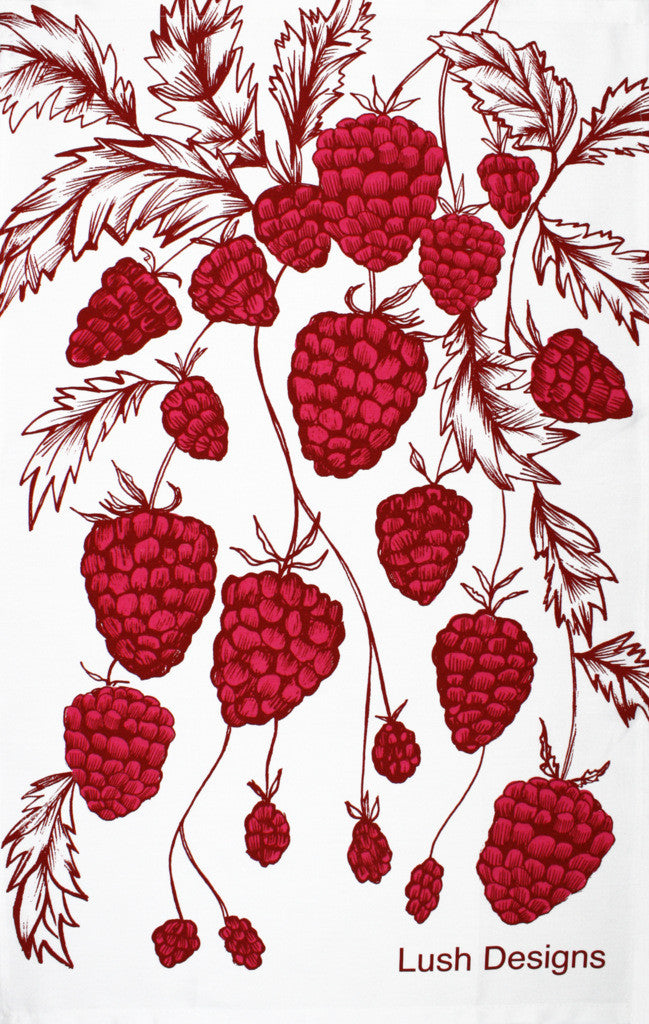 Raspberries tea towel