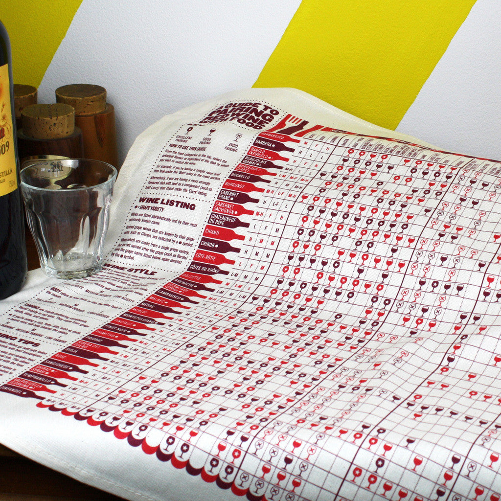 A Guide to Red Wine tea towel