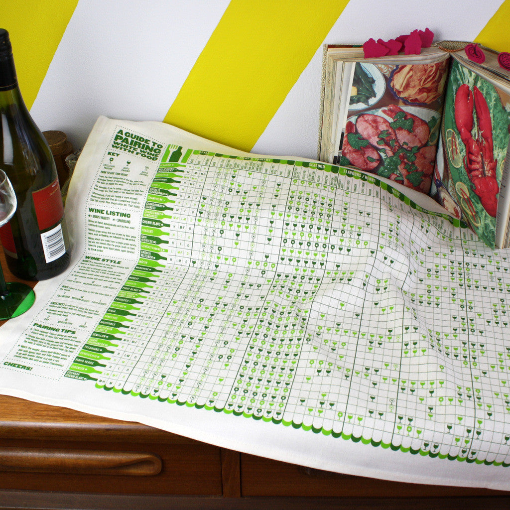 A Guide to White Wine tea towel